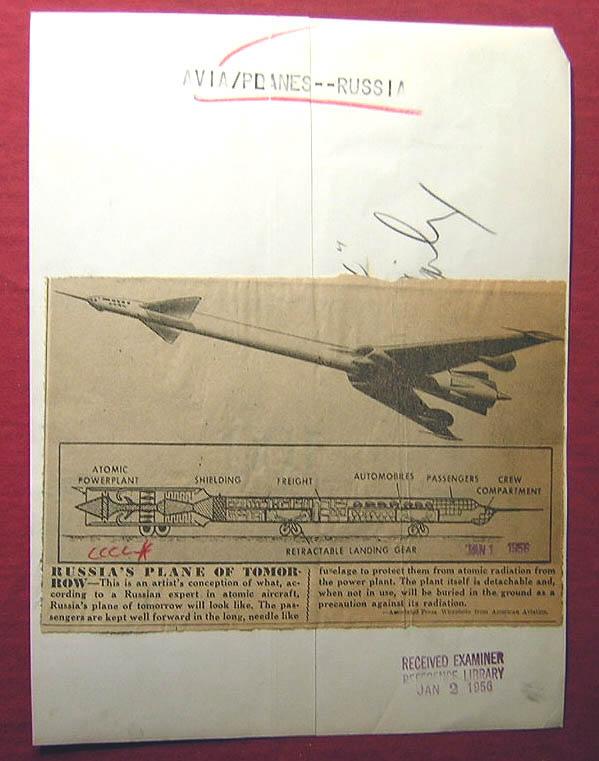 Avion solaire 1955_Atomic_Soviet_Plane